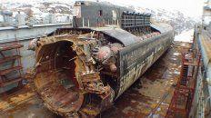 Gigante. Los restos recuperados del Kursk, destruido por una explosión en agosto de 2000.