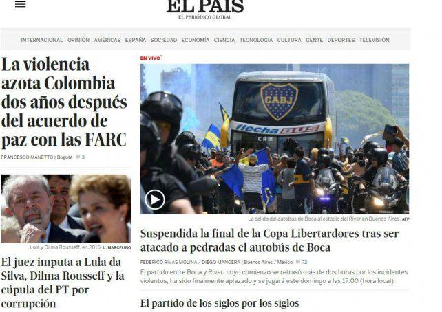 La suspensión del encuentro fue tapa del diario El País de Madrid.