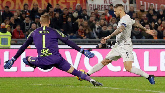 Mauro Icardi marcó un gol en el empate de Inter ante Roma