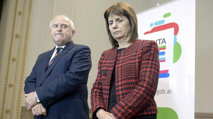 El gobernador Miguel Lifschitz y la ministra de Seguridad Patricia Bullrich.