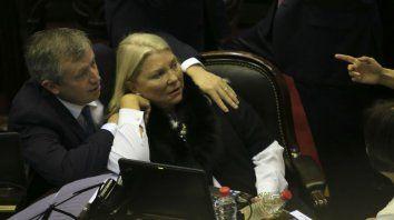 El presidente de la Cámara de Diputados, Emilio Monzó, y la diputada Elisa Carrió.