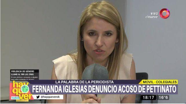 Fernanda Iglesias denunció que Pettinato la acosó en un camarín