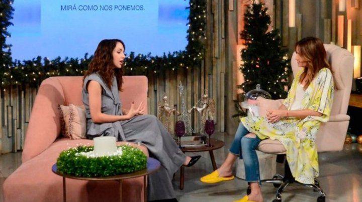 Charla. Thelma Fardín ayer con Verónica Lozano en Telefé.