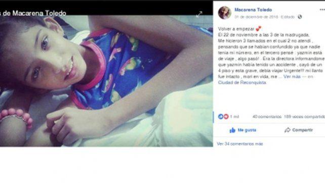 La mamá de Yazmín posteó en su Facebook la imagen de la niña y narró los momentos tremendos que vivió cuando supo la noticia.