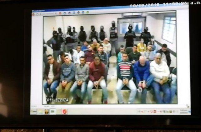 Videoconferencia. Diecinueve de los principales acusados siguieron el juicio desde la cárcel de Ezeiza.