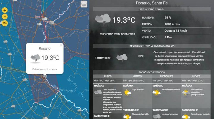 Alerta a corto plazo para Rosario y la zona por lluvias intensas con ráfagas
