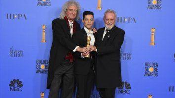 We are the Champions. Los integrantes de Queen Brian May y Roger Taylor junto al actor Rami Malek.