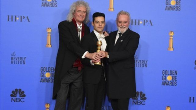 We are the Champions. Los integrantes de Queen Brian May y Roger Taylor junto al actor Rami Malek.
