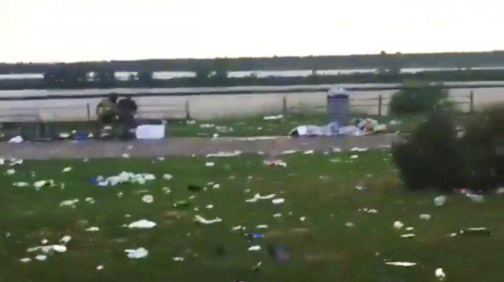 El estado del Parque de las Colectividades tras la última fiesta.