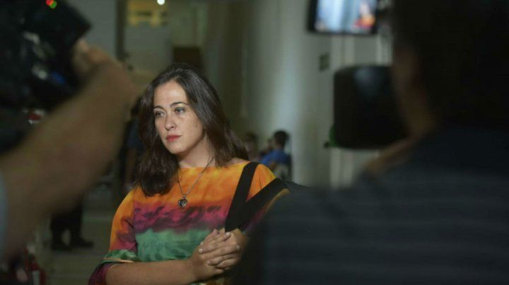 La abogada Temperini esta mañana en la sede del Ministerio Público de la Acusación.