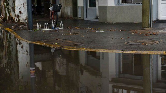 En Avellaneda y Pellegrini el agua casi llega a la vereda.