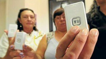Protección. El modelo de botón que se utiliza en la Capital Federal.