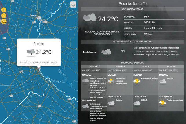 El Servicio Meteorológico Nacional anuncia lluvias y tormentas para todo el fin de semana.