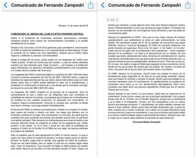 Central: El duro comunicado de Zampedri tras el pase frustrado a Independiente