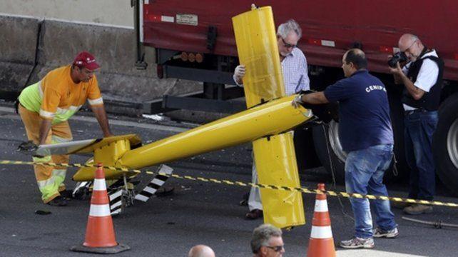 tragedia aérea. El helicóptero que llevaba a Ricardo Boechat.