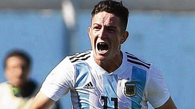 Promesa. Moreno grita su golazo ante Uruguay. Todavía no jugó en primera.