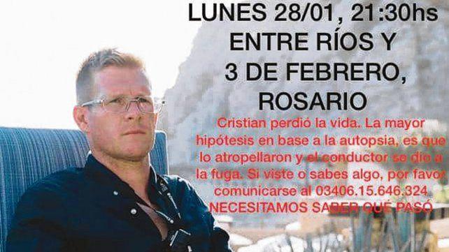 La imagen que difunde por redes la familia de Cristian Contrera.