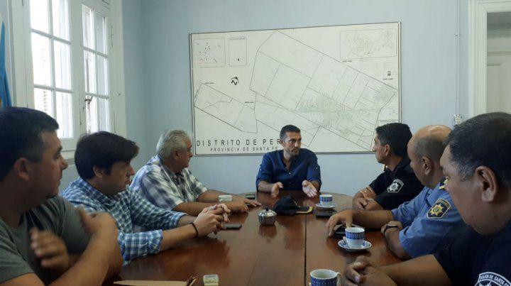 Cónclave. Corsalini se reunió también con autoridades policiales.