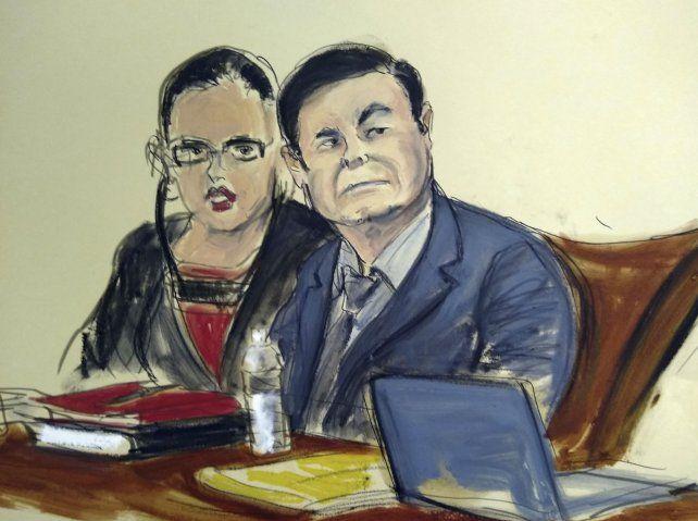 Juzgado. Dibujo del Chapo y su abogada durante las audiencias.