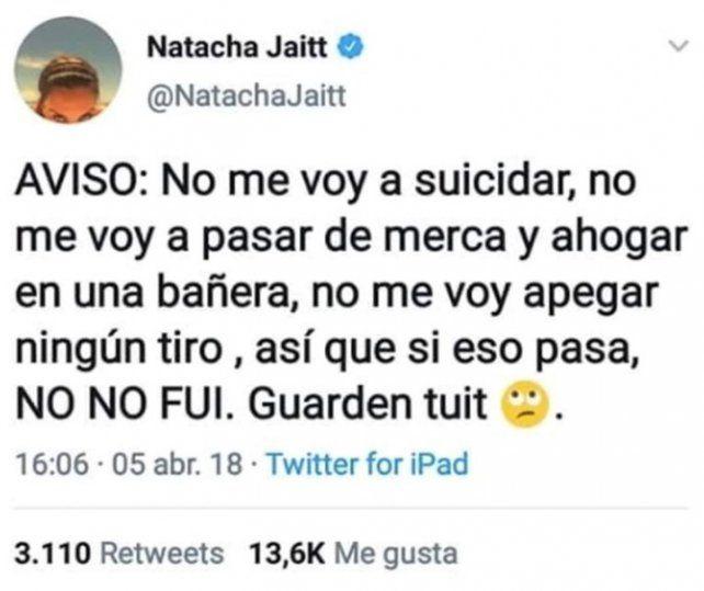 Los últimos tuits de Natacha Jaitt y el mensaje sobre su muerte