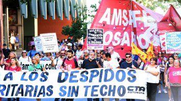 Los gremios marcharon el jueves por las calles de Rosario.