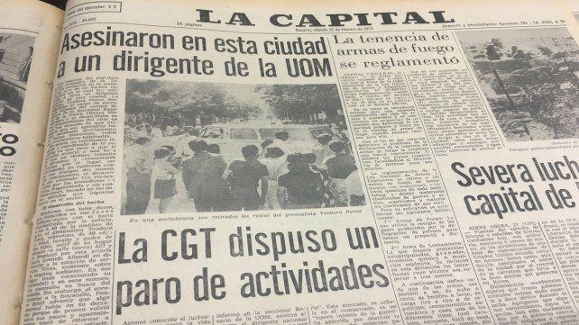 Así abrió su portada La Capital el sábado 22 de febrero de 1975.