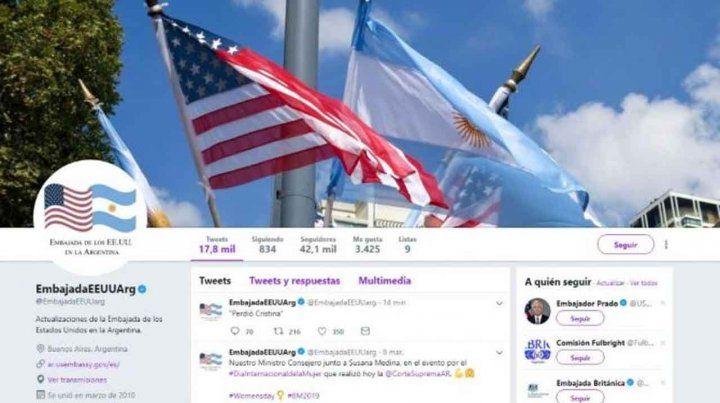 Perdió Cristina, el polémico tuit de la Embajada de Estados Unidos