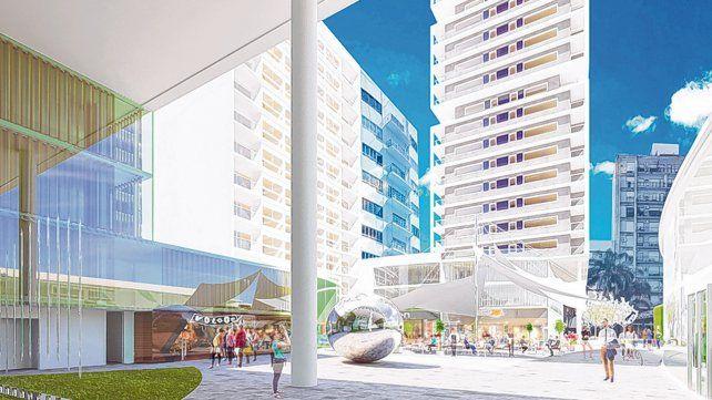 Con paseo público. La propuesta original incluía tres torres para viviendas y oficinas
