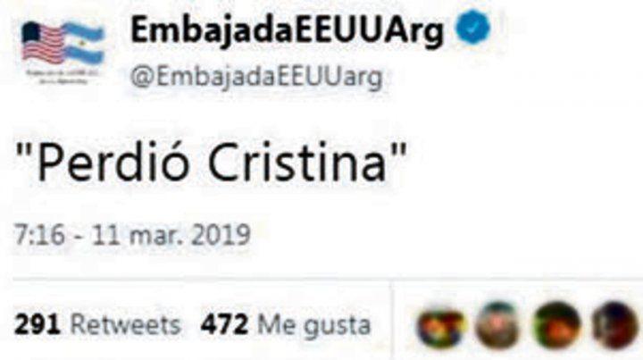 Un extraño tuit de la Embajada