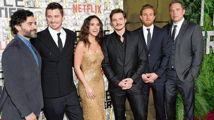 de gala. El elenco a pleno en la presentación de la película en Nueva York.