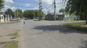 la escena. Castellanos y Aurora, zona sudoeste, donde mataron a Leandro Vidal el miércoles a la noche.