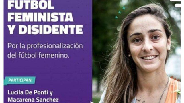 El anuncio. Macarena Sánchez en el afiche de la charla de anoche en Rosario.