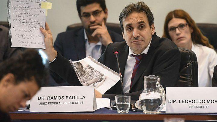 El juez federal de Dolores Ramos Padilla durante su presentación en la Cámara de Diputados.