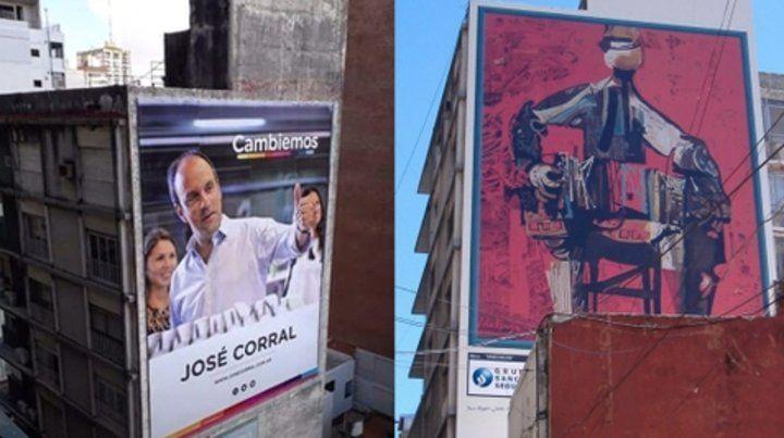 Ahora y antes. La gigantografía del candidato a gobernador de Cambiemos y la obra de Vanzo que estaba en esa misma medianera.