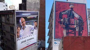 Bandoneón, de Julio Vanzo, estaba pintada en la medianera de un  edificio céntrico donde ahora había un candidato a gobernador.