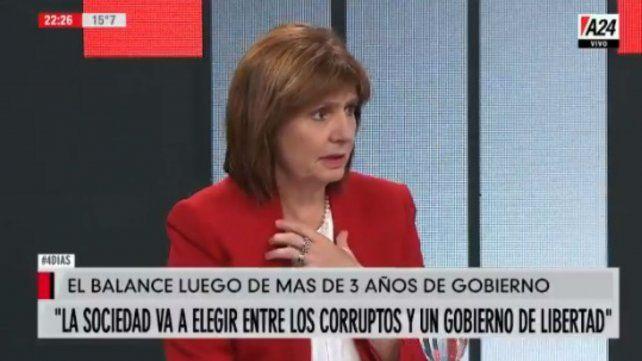 Bullrich dijo que el gobierno no puede hacer nada para que Cristina esté o no presa