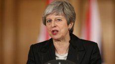 La primera ministra en su discurso.