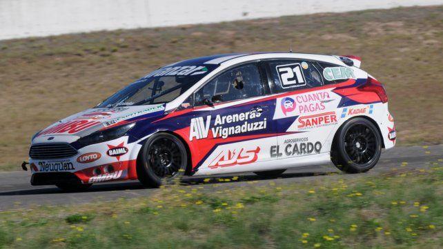 Alistado. El Focus del piloto de Las Parejas se mostró muy competitivo ayer en La Pampa y aspira a ganar en el Turismo Nacional.