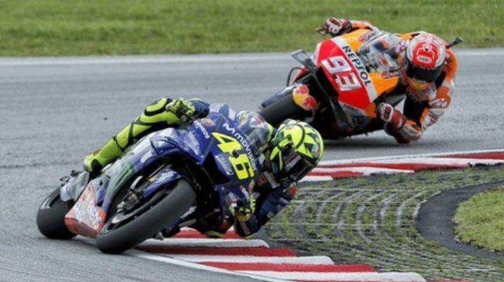 El duelo. Valentino Rossi y Marc Márquez serán la principal atracción de la competencia.