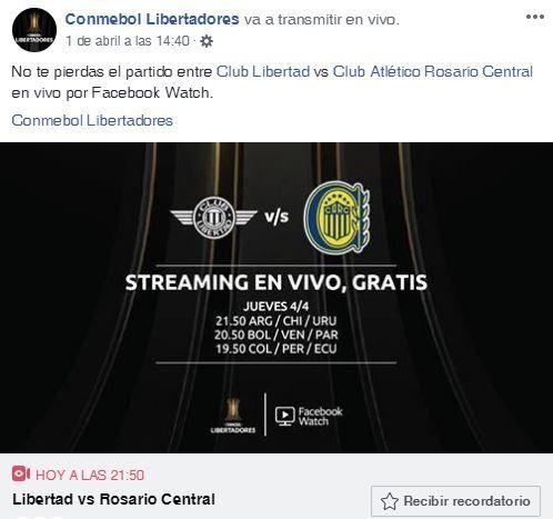 Seguí en vivo el partido de Central que televisa Facebook