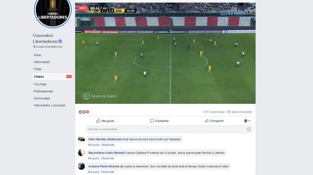 Curiosidades y entretelones de la transmisión del partido de Central por Facebook