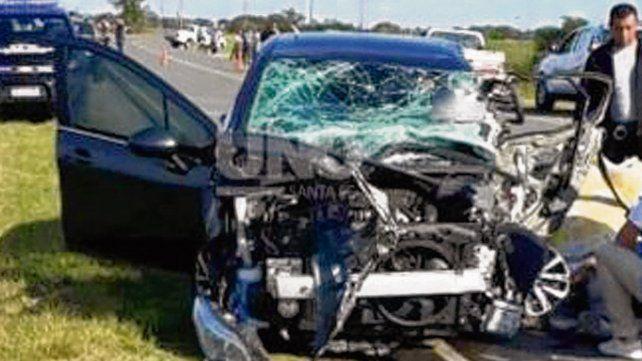 Impacto fatal. El auto donde iba el futbolista de la localidad de Progreso.