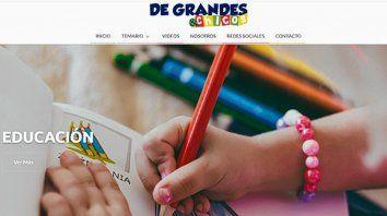 La web aborda temas de salud, educación y deportes de los chicos y chicas.