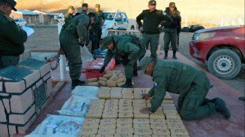 Cocaína. La droga fue hallada el domingo por Gendarmería.