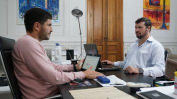 El ministro de Seguridad, Maximiliano Pullaro, y el secretario de Control de las Fuerzas de Seguridad, David Reniero.
