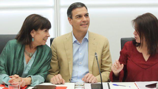 Confianza. Sánchez ayer durante la reunión de la cúpula socialista.