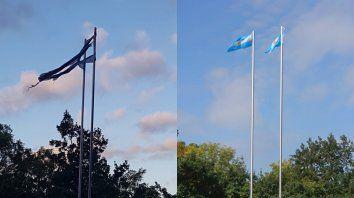 Antes y después. Las banderas destrozadas fueron reemplazadas.