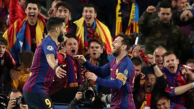 En el Camp Nou. Leo marcó dos goles en el choque de ida. El primero fue de Suárez.
