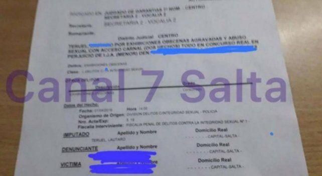 La denuncia fue exhibida en el Canal 7 de Salta.