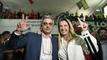 Bartolacci y la concejala María Eugenia Schmuck en los festejos de ayer.